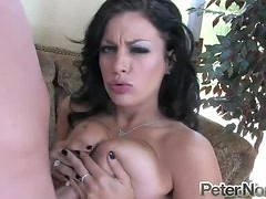 Sizzling honey Angelica Raven gets down on a huge cock with her mouth