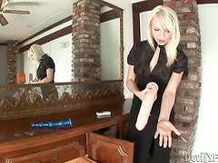 Ashley Jane the adorable blonde chick toys both her holes with dildos