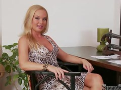 Horny redhead girl shows her body at the interview
