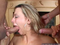 Brianna Beach satisfies two guys and gets cum all over her face