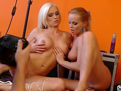 Silvia Saint and Stacy Silver posing on camera showing thier sexy bodies