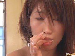 Lovely Japanese babe Nayuka Mine gives the hottest blowjob ever