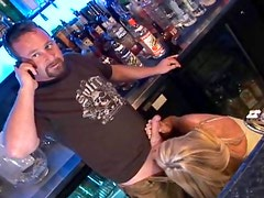 Blonde milf fucked in an empty bar