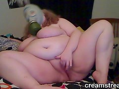 BBW Masturbating on Webcam With Gas Mask On