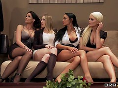 Kinky Office Four Play With Horny Lesbian Bitches!