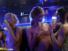 Wild girls fuck a stripper in the club and make him so happy