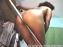Ebony Hottie Slithers A Pole Between Her Massive Butt Cheeks