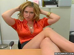 Blonde French Babe Gets Her Pussy Rammed On Top Of A Desk