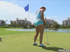 Hot Golf Player Has Her Ass Oiled Up Before Getting Fucked