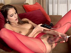 Long legs in sheer red pantyhose