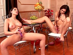 Beautiful lesbians look great in play video