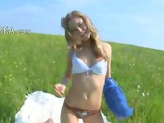 Huge dildo in girly hole in the grass