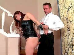 Asian submissive in leather fucked from behind