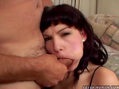 Shayna sucks two big pricks and gets her face splattered with cum