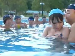 Hot Japanese girl gets gangbanged by the poolside