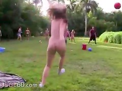 Young charming couple fucking in outdoor