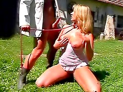 Screwing girl on a leash outdoors