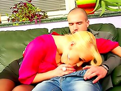 Screwing babes in blouses on couch