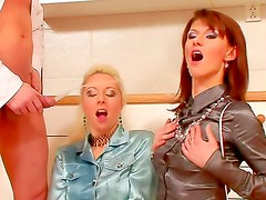 Two girls in tight satin blouses fucked