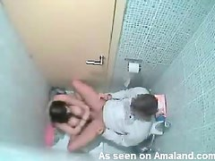 Restroom Blowjob From A Horny Babe In Voyeur Clip