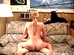 Hot blonde riding her guy on the couch