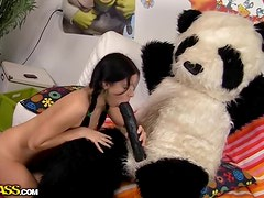 Horny brunette gets fucked in the ass by a mascot