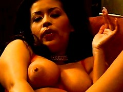 Smoking and fingering is fun with erotic girl