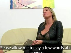 Mature babe fucking on leather couch