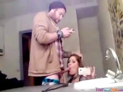 Brunette Bathroom Mirror Blowjob