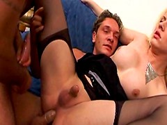 Tiny cock shemale fucked in threesome