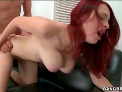 Casting couch fuck session with curvy redhead