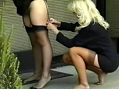 Girls make a public stockings fetish video