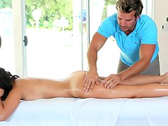 Beauty sits on cock of her masseur