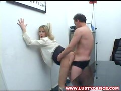 Cocksucking secretary lets him fuck her pussy
