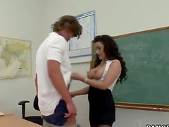Busty teacher sucks and gets fucked by her student