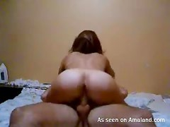 Very sexy bubble butt slut riding cock like a wild woman