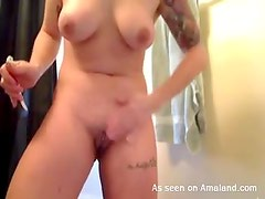 Busty big tits slut wild toy inserting action and hot!