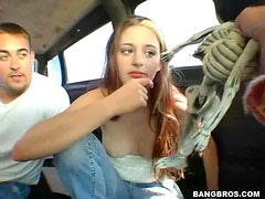Grace car cock sucking chick going crazy on cock here
