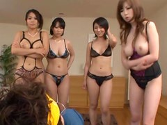 Hot Group Action With 4 Sexy Japanese Models!