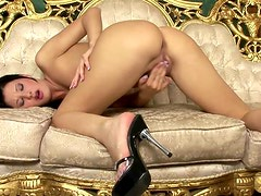 Horny Brunette Takes A Dildo To Her Pussy