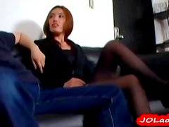 Office Lady Giving Blowjob For Guy On The Couch One More Girl Joining Them In The Roo