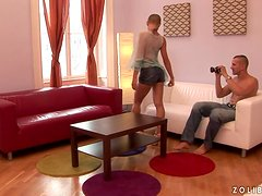 Hot sex scene with a shaved babe Sinead on camera