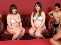 Two busty Asian pregnant babes are having sex