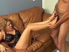 Lingerie girl gives a sexy footjob