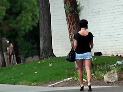 Vaqueros - Follow chick in tiny skirt in public