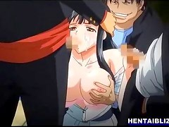 Busty hentai coed sucking dick and facial cumshot