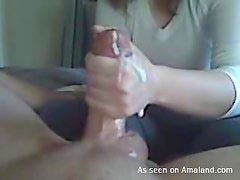 Lovely blonde left hand blowjob with cum on hands