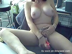 Big tit brunette chick drilling toys in her pussy here