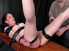 Painful electro shock for taped down girl