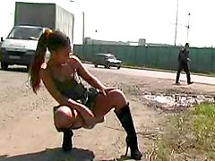 Sexy public undressing with a hot gorgeous brunette